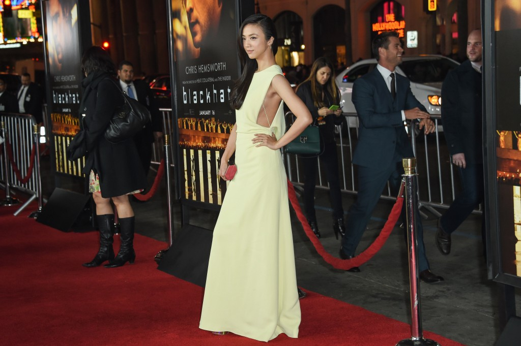 Tang Wei arrives at the world premiere of Blackhat at TCL Chinese Theatre on Thursday, Jan. 8, 2015, in Los Angeles. (Photo by Rob Latour/Invision/AP)