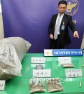 An investigator displays confiscated drugs at an office of the Seoul Metropolitan Police Agency on Nov. 6. Police said they have arrested three people their 20s suspected of smuggling the drugs in from overseas and selling them near club districts in Seoul. (Yonhap)