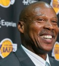 Byron Scott smiles as he is introduced as the successor to Mike D'Antoni as the Lakers' head coach, in a multi-year contract during a news conference in Los Angeles Tuesday, July 29, 2014. Scott is the former head coach for New Jersey, New Orleans and Cleveland, reaching two NBA Finals with the Nets. He was the NBA's coach of the year in 2008. (AP Photo/Damian Dovarganes) (The Associated Press)