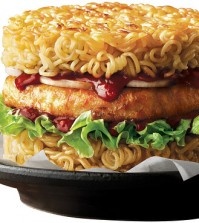 A promotional photo of Lotteria's ramen burger (Courtesy of Lotteria)