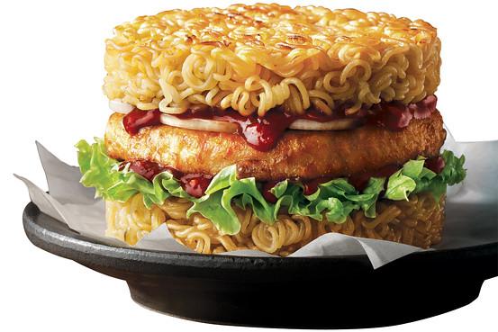 A promotional photo of Lotteria's ramen burger (Courtesy of Lotteria)