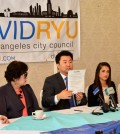 Los Angeles City Council candidate David Ryu speaks during a press conference.