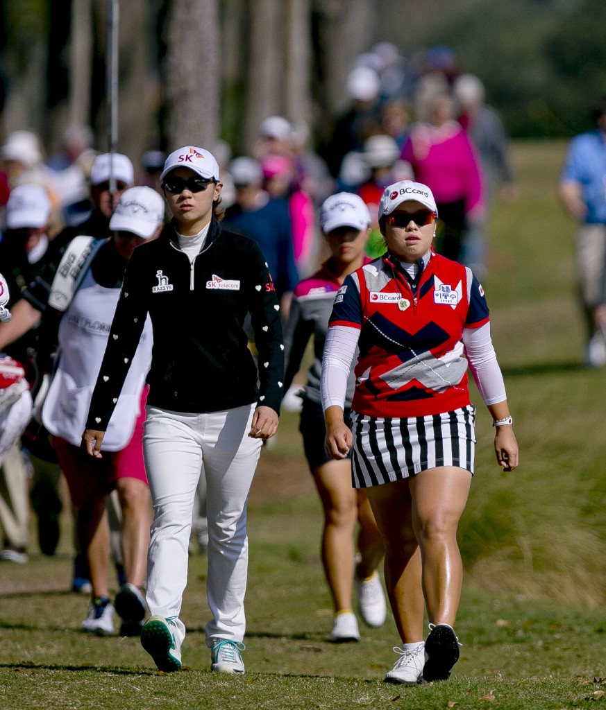 Choi Na-yeon, left, and Jang Ha Na walk up the eighth fairway together in the final round of the LPGA Coates Golf Championship  Saturday, Jan.  31, 2015, at Golden Ocala Golf and Equestrian Club in Ocala, Fla. Choi won the event.  (AP Photo/The Ocala Star-Banner, Cyndi Chambers)