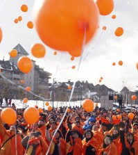 Participants release balloons to celebrate a countdown to the start of the 2018 Winter Olympics in Pyeongchang, South Korea. (AP Photo/Yonhap, Han Jong-chan)