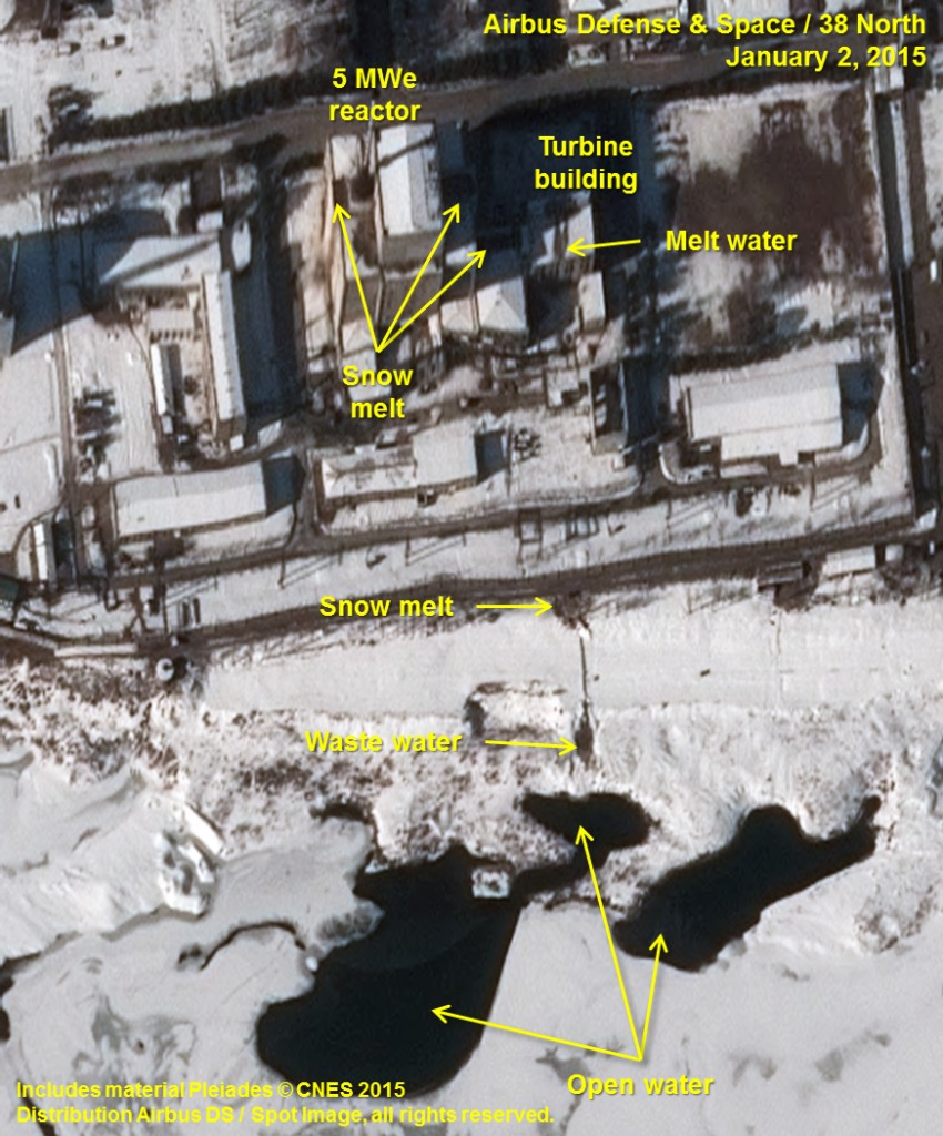 This Jan. 2, 2015, image provided by Airbus Defense and Space, Spot Image, and Pleiades - CNES via 38 North, a website specializing in analysis of North Korea, at the U.S.-Korea Institute at the Johns Hopkins School of Advanced International Studies shows an annotated satellite photo indicating signs of new activity at the 5 MWe Plutonium Production Reactor at North Korea's Nyongbyon Nuclear Scientific Research Center. The U.S.-Korea Institute at Johns Hopkins School of Advanced International Studies said on Thursday, Jan. 29, 2015, that North Korea may be attempting to restart its main nuclear bomb fuel reactor after a five-month shutdown.  (AP Photo/Airbus Defense and Space, Spot Image, Pleiades - CNES via 38 North)
