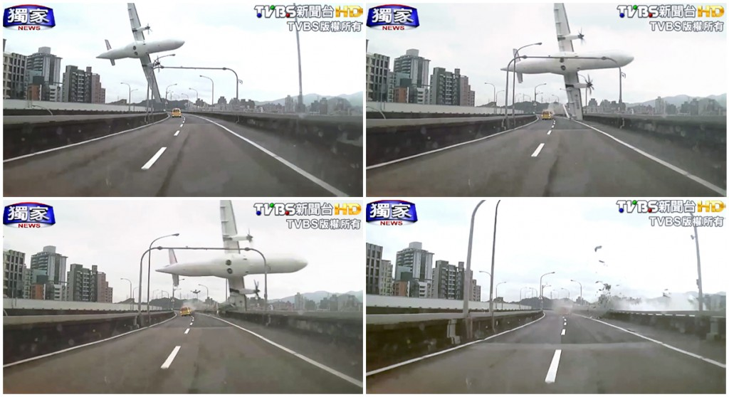 In this combination photo, a series of images taken from video provided by TVBS show a commercial airplane clipping an elevated roadway just before it careened into a river in Taipei, Taiwan, Wednesday, Feb. 4, 2015. The ATR-72 prop-jet aircraft had 58 people aboard. (AP Photo/TVBS)