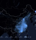 "In this image made on Monday, Feb. 16, 2015 from an interactive graphic from Baidu, the Chinese Internet portal, lines tracing the trips of individual travelers provide a ""heat map"" of the massive migration home from the big cities ahead of China's Lunar New Year. The interactive graphic shows the brightest spokes emanating from eastern employment hubs Beijing, Shanghai and the southern nexus of Shenzhen, Guangzhou and Dongguan. The lines are drawn from the locations of smartphones. (AP Photo/Baidu)"