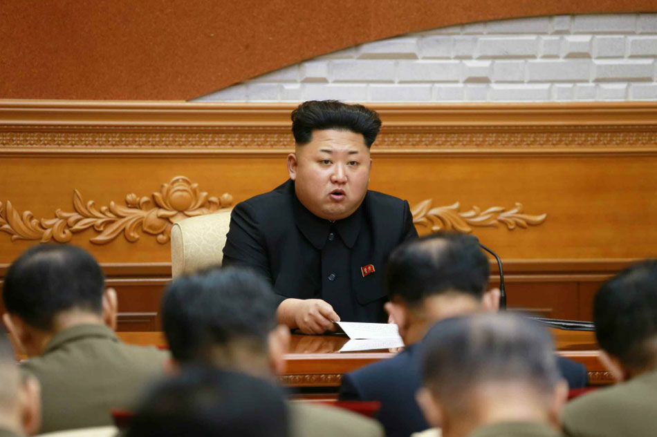 North Korean leader Kim Jong-un presides over an expanded meeting of the Central Military Committee of the Workers' Party in this KCNA photo released on Feb. 23, 2015. (No sale outside of South Korea) (KCNA-Yonhap)