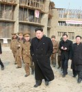 This Rodong Sinmun photo released on Feb. 11, 2015 shows North Korean leader Kim Jong-un visiting the construction site of an orphanage in Wonsan on the east coast. (Yonhap)