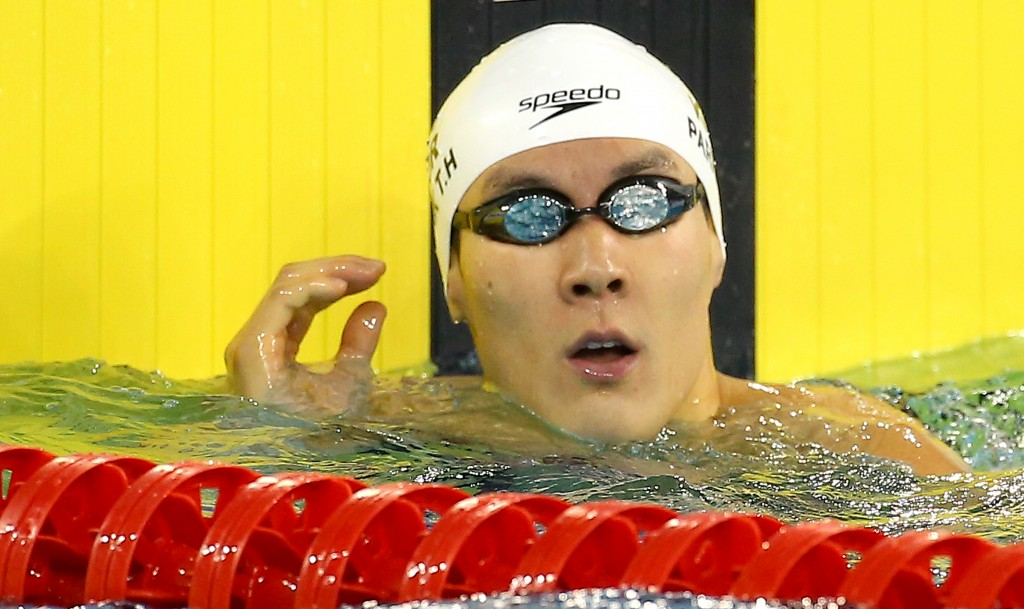 Park Tae-hwan checks his time after competing men's 200-meter freestyle swimming heat at the 17th Asian Games in Incheon, on Sept. 21, 2014.  (AP-Yonhap)