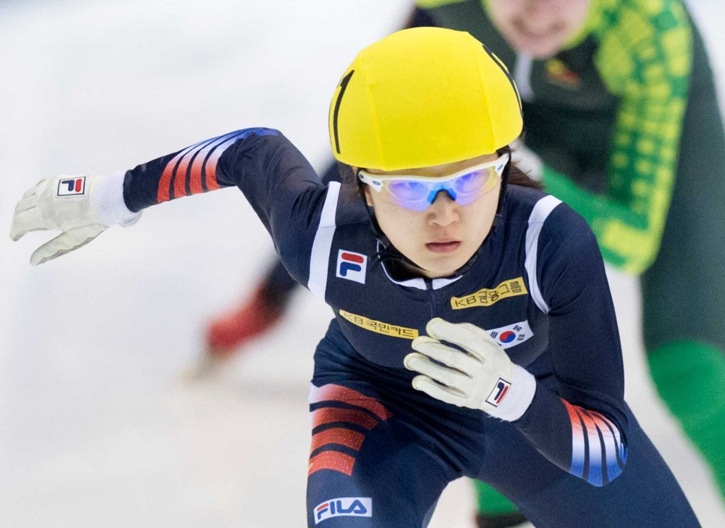Winner Choi Minjeong of South Korea skates during the women's 1,500 meters final race at the World Cup short track speed skating championship in Dresden, Germany, Saturday, Feb. 7, 2015. (AP Photo/Jens Meyer)