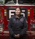 Sarinya Srisakul, the first Asian-American woman firefighter in the New York City Fire Department, works at the fire house for Engine 5 in Manhattan. (Courtesy of John Brecher / NBC News)