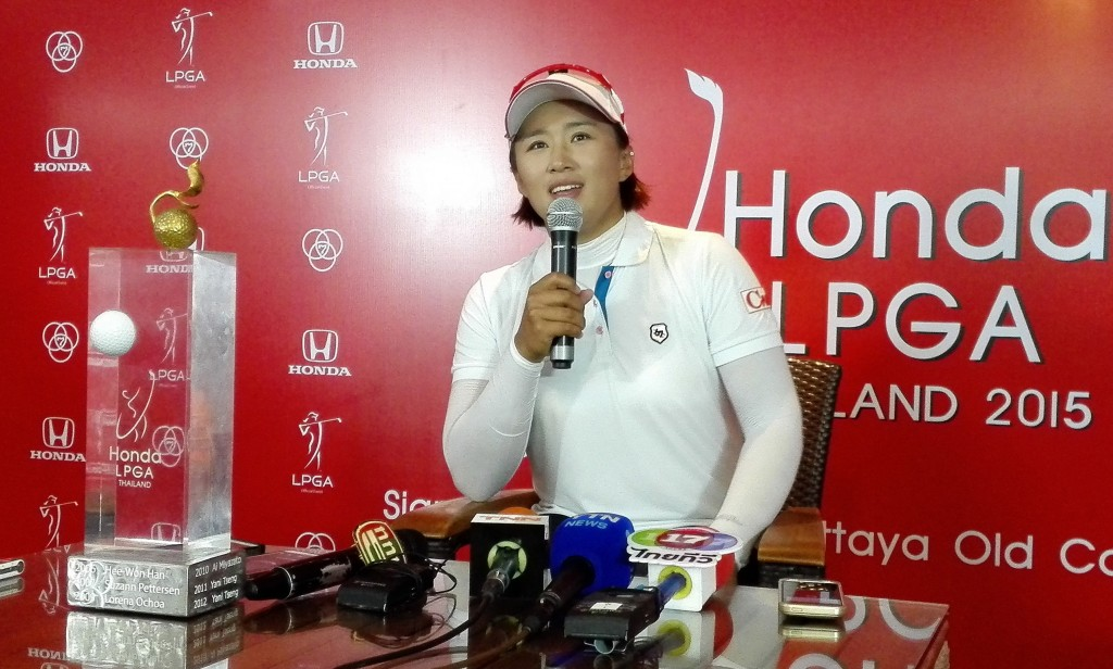 Amy Yang answers questions after winning the LPGA Thailand. (Yonhap)
