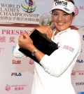 Ryu So-yeon hugs her trophy after winning the LET's Mission Hills Championship. (Courtesy of Mission Hills / Yonhap)