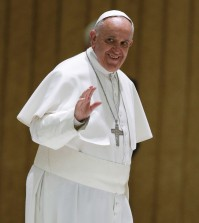 Pope Francis waves to faithful as he arrives on the occasion of an audience with participants to the course promoted by the Penitentiary Apostolic Tribunal, in the Paul VI hall at the Vatican,  Thursday, March 12, 2015. (AP Photo/Andrew Medichini)