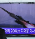 "A South Korean man watches a TV news program showing the file footage of the missile launch conducted by North Korea, at Seoul Railway Station in Seoul, South Korea, Friday, March 13, 2015. North Korea has test fired seven short-range missiles into the sea, South Korean officials said Friday, in the latest such tests launched during ongoing South Korea-U.S. military drills.The writing on the screen reads "" Launched 200 kilometers missile "" (AP Photo/Ahn Young-joon)"