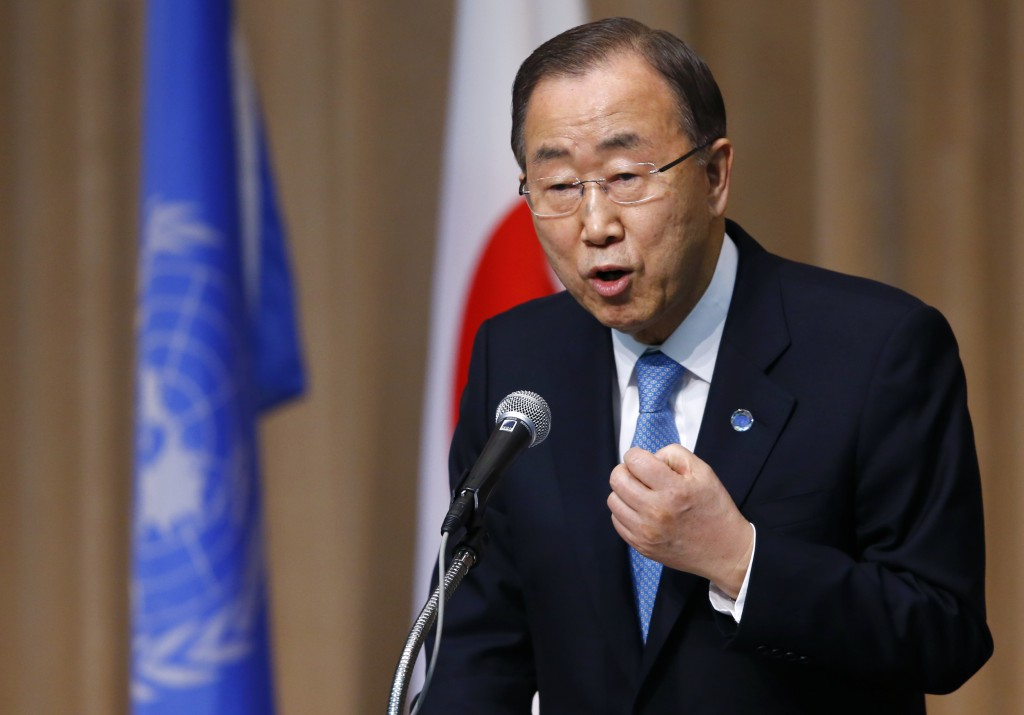 U.N. Secretary General Ban Ki-moon delivers a speech during a symposium of the 70th anniversary of the United Nations at the UN University in Tokyo, Monday, March 16, 2015. Ban attended last weekend the World Conference on Disaster Risk and Reduction in Sendai, northeastern Japan.  (AP Photo/Shizuo Kambayashi)