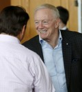 Dallas Cowboys owner Jerry Jones smiles as he is greeted as he arrives to attend a general session at the NFL Annual Meeting Monday, March 23, 2015, in Phoenix. (AP Photo/Ross D. Franklin)