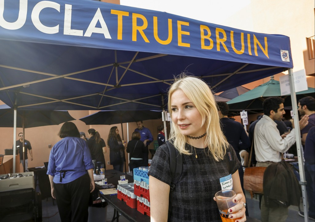 Student Fabienne Roth pauses for a photo at the UCLA campus in Los Angeles. (AP Photo/Damian Dovarganes)