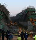 The construction site in Yongin, Gyeonggi Province, which collapsed on Wednesday (Yonhap)