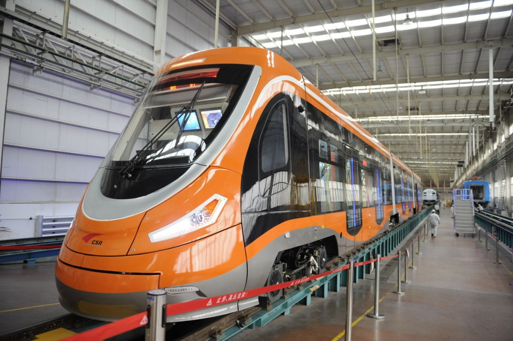 The world's first hydrogen-powered tram emits only water (Courtesy of Qingdao Sifang Co.)