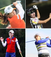 Clockwise from top left are Korean golfers Park In-bee, Kim Hyo-joo, Amy Yang and Ryu So-yeon. The four players are currently included within top 15 of International Golf Federation's (IGF) Olympic Rankings. (Korea Times file)