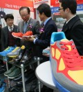 North Korean-made shoes on display (Yonhap)