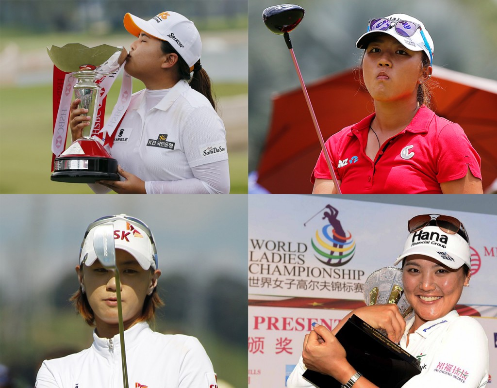 From top left going counter clockwise, Park Inbee, Lydia Ko, Ryu So-yeon and Choi Na-yeon are all part of the seven LPGA and LET winners in the 2015 season who were born in Korea. (AP Photos)