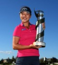 Lydia Ko holds up the trophy for the 2015 ISPS Handa New Zealand Women's Open. (Courtesy of the Ladies European Tour)