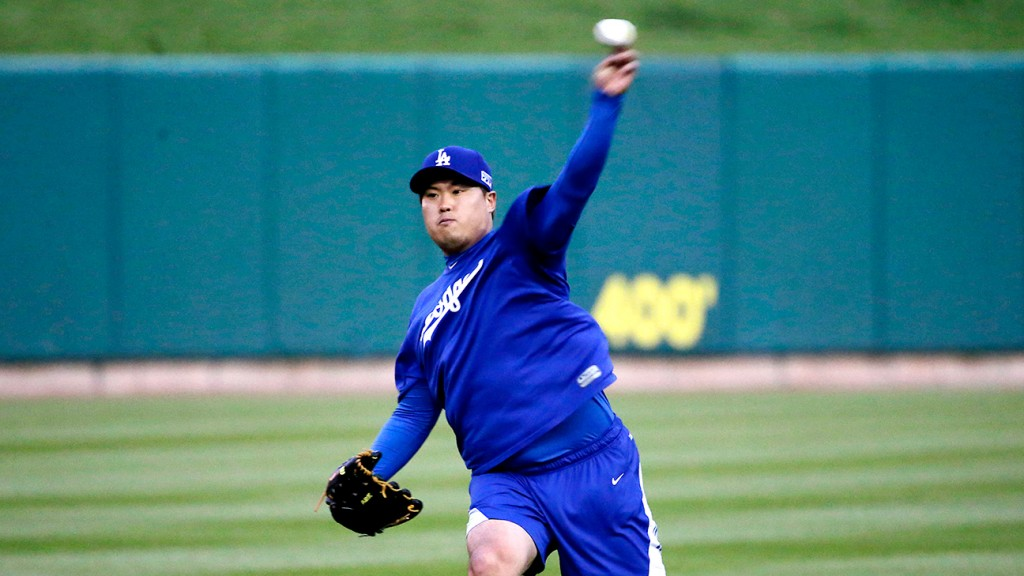 Los Angeles Dodgers starting pitcher Hyun-Jin Ryu, of South Korea, throws at a practice(AP Photo/Charles Rex Arbogast)
