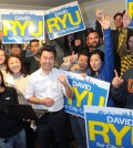 David Ryu and his supporters are very optimistic about earning a spot in the May 19 runoff. (Park Sang-hyuk / The Korea Times)
