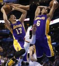 Jeremy Lin, left. and Jordan Clarkson are the first ever pair of Asian American guards to start on an NBA team.