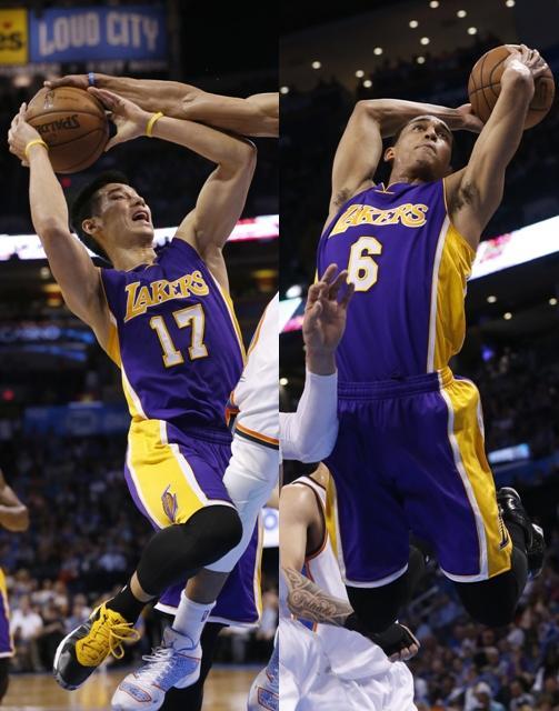 Jeremy Lin, left, and Jordan Clarkson (AP)