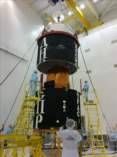 South Korea's new multipurpose satellite KOMSAT-3A is being encased before it is loaded onto Russian space rocket Dnepr before its launch at the Yasny launch base in Russia on March 26, 2015. (Photo courtesey of KARI)