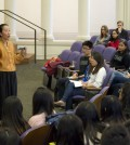 """Prof. Ji-Yeon Yuh discusses the trend of the """"Asian bubble,"""" which she related to the historic segregation of Asian-Americans in U.S. communities. The event, held at Harris Hall, attracted about 100 students. (Photo credit: The Daily Northwestern/Nathan Richards)"""