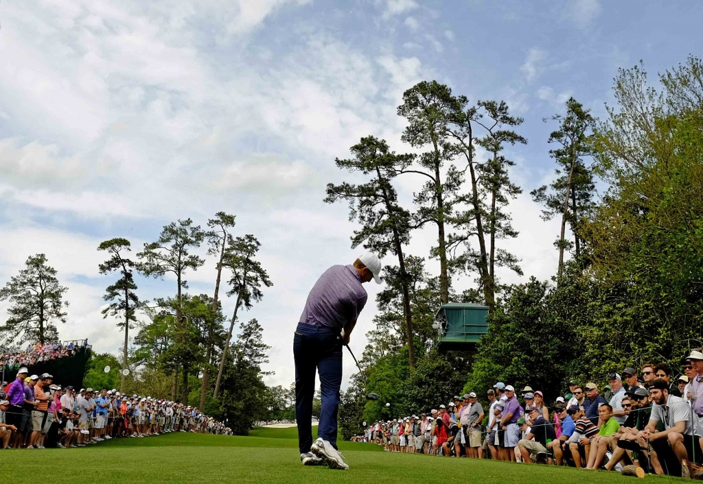 Jordan Spieth tees off on the 18th hole during the second round of the Masters golf tournament Friday, April 10, 2015, in Augusta, Ga. (AP Photo/David J. Phillip)