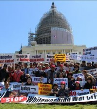 Protestors calling for an apology from Japanese Prime Minister Shinzo Abe on wartime history gathered at Capitol Hill Tuesday.