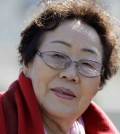 """Lee Yong-soo of South Korea is seen of the West Lawn of the Capitol Hill in Washington, Tuesday, April 28, 2015. Yong Soo Lee is one of dozens of surviving """"comfort women"""" from Korea other Asian countries that were forced into sexual servitude by Japanese troops. (AP Photo/Luis M. Alvarez)"""