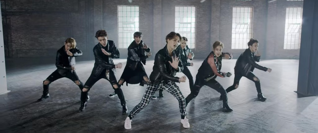"EXO in the ""Call Me Baby"" music video"