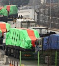 South Korean trucks transport humanitarian aid to North Koreans in this photo. (Yonhap)