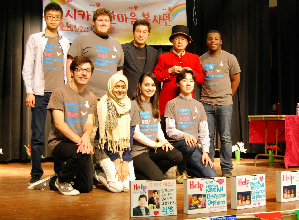 Washtenaw International students received a donation to support orphaned North Korean defectors from a Chicago volunteer organization April 17. (Photo courtesy Hanmaeum)