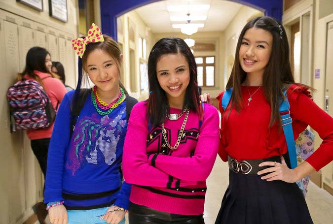 """Make It Pop"" cast from left, Megan Lee, Louriza Tronco and Erika Tham as freshmen at a boarding school who form a band, on Nickelodeon. (Courtesy of Nickelodeon)"