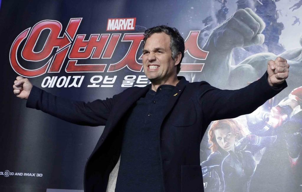"U.S. actors Mark Ruffalo poses during a press conference to promote his latest film ""Avengers: Age of Ultron"" in Seoul, South Korea, Friday, April 17, 2015. The movie will open on April 23 in South Korea. (AP Photo/Ahn Young-joon)"