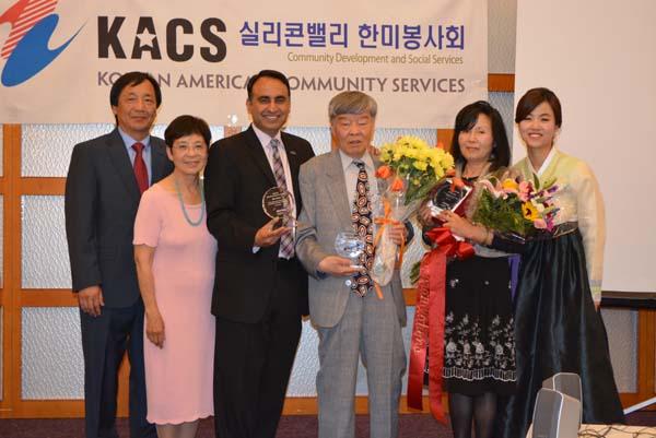 Left to right: KACS leaders James Chun and Kim Hee-sik, San Jose City Councilman Ash Kalra, member Ha Byung-yoon, volunteer Choi Mi-soon, KACS Director Eunice Chun.