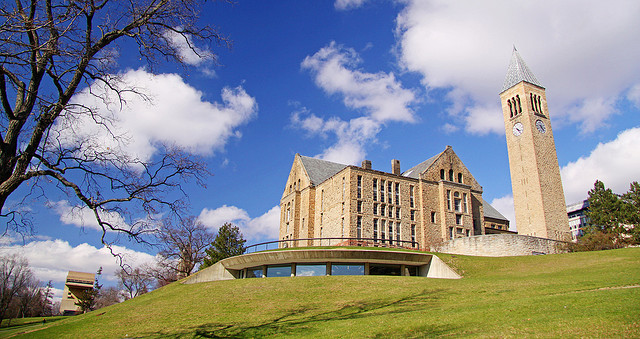 A view of Uris Library and the John McGraw clock tower from Cornell University's Libe Slope. (Courtesy of Matt Hintsa via Flickr/Creative Commons)