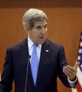 U.S. Secretary of State John Kerry answers a reporter's question during a joint news conference following meetings with South Korean Foreign Minister Yun Byung-se at the Foreign Ministry in Seoul, South Korea, Monday, May 18, 2015. (AP Photo/Lee Jin-man, Pool)