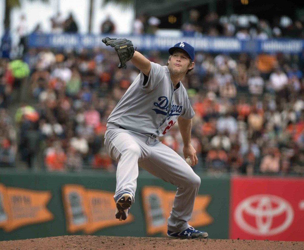 Los Angeles Dodgers starting pitcher Clayton Kershaw pitches in the bottom of the first inning of a baseball game against the San Francisco Dodgers, Thursday, May 21, 2015 in San Francisco. (Jose Luis Villegas/The Sacramento Bee via AP)