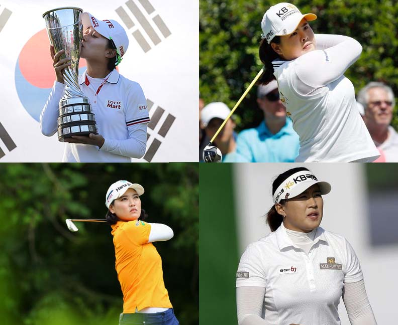 From top left going clockwise, Kim Hyo-joo, Park Inbee, Amy Yang and Ryu So-yeon. South Korea has four female golfers who are in the top-15 qualifying rankings for the 2018 Olympics.  (AP Photo)