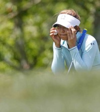 Alison Lee lines up a putt on the 15th hole during the second round of the Kingsmill Championship LPGA golf tournament in Williamsburg, Va., Friday, May 15, 2015. (Jonathon Gruenke/The Daily Press via AP)