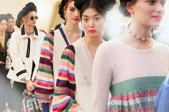 Models prepare to walk the runway (Courtesy of Chanel/Twitter)